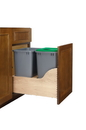 Rev-A-Shelf 4WCSD-1835DM-2-16 Double 35 Qt. Wood Bottom Mount Waste Container Kit w/ Blum and Servo-Drive