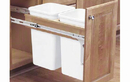Rev-A-Shelf 4WCTM-15DM2-162 Natural 27QT Double Waste Container Pullout