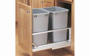 Rev-A-Shelf 5349-1527DM-217-24 Silver Soft-close 27QT Double Waste Container Pullout
