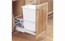 Rev-A-Shelf 5349-15DM18-1 Single Bottom Mount Reduced Depth Aluminum Waste Containers, 35 QT - Brushed / White