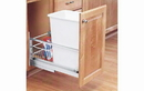 Rev-A-Shelf 5349-15DM-1-24 White Soft-close 35QT Single Waste Container Pullout