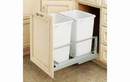 Rev-A-Shelf 5349-18DM-2-16 White Soft-close 35QT Double Waste Container Pullout