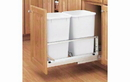 Rev-A-Shelf 5349-2150DM-2-12 White Soft-close 50QT Double Waste Container Pullout
