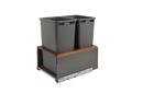Rev-A-Shelf 5LB-1850OGWN-213 LEGRABOX Gray/Walnut Soft-close 50QT Double Waste Container Pullout