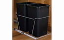 Rev-A-Shelf RV-15KD-18C S-30 Black 27QT Double Waste Container Pullout