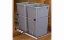 Rev-A-Shelf RV-18KD-17C S-30 Metallic Silver 35QT Double Waste Container Pullout