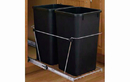 Rev-A-Shelf RV-18KD-18C S-30 Black 35QT Double Waste Container Pullout