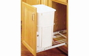 Rev-A-Shelf RV-18PB-1-20 White 35QT 3/4 Extension Single Waste Container Pullout