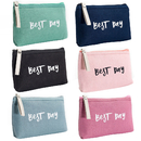 Aspire 6 Pack Fashion Canvas Travel Cosmetic Bags, Zipper Purse, Party Favor