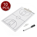 GOGO 10 Packs Double Sided Tactics Board, Basketball Erasable Coach Clipboard, Whiteboard with Marker