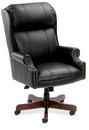 Office Source 278BLK Mah/ Leather Soft Vinyl Hi-Back Chair