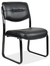 Office Source 314BLK Blk Leather Armless Guest Chair