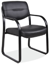 Office Source 315BLK Blk Leather Guest Chair W/Arms
