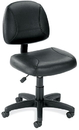 Office Source 316BLK Black Leather Armless Deluxe Posture Chair w/Black Frame