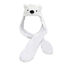 TopTie Ladies Kids Teens Babies Long Animal Hat, Bear, Polar Bear, Faux Fur
