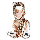 TopTie Animal Hat, Faux Fur - Leopard, White Leopard, Brown Leopard