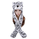 TopTie Girls Animal Design Winter Thermal Hat With Ears - Tiger, White Tiger