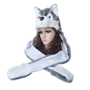 TopTie Husky Full Hood Animal Hat Faux Fur With Fleece Lined Interior - Husky