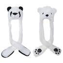 TopTie 2 Packs Animal Costume Hats Long Scarf with Mittens, Panda Polar Bear Christmas