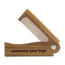 Custom Folding Beard Comb Personalized Logo Wooden Comb Fine Tooth Pocket Size Custom Brush For Hair / Beard