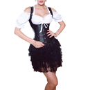 Muka Women's Faux Leather Steampunk Underbust Corset Top Lace-up Wasit Cincher