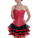Muka Women Faux Leather Overbust Corset Bustier Party Underwear With G-string