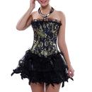 Muka Fashion Brocade Lace Waist Cincher Corset Floral Overbust Bustier Top