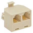 Cmple 1117-N Duplex Jack Adapter (Ivory, 4-conductor)