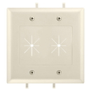 Cmple 1237-N Cable Plate with Flexible Opening, 2 Gang - Lite Almond