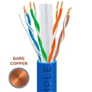 Cmple 1312-N Cat-6 Solid PVC UTP 23AWG CMR Bare Copper Cable with Gigabit Ethernet Blue
