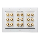 Cmple 508-N Speaker Wall Plate - 7.1 Surround Sound Distribution - 3-Gang
