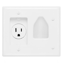Cmple 523-N Wall plate - Recessed Low Voltage Cable Wall Plate WITH Recessed Power - Wh