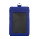 GOGO Badge Holder Vertical Horizontal 2-Sided Leather ID Card Credit Card with 2 Card Slots