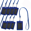 GOGO 8Pcs 2-Sided Premium Leather Badge Holder with Lanyard, 2 Card Slots for ID Credit Card