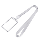 GOGO Vertical Horizontal Sturdy Lightweight Metal Badge Holder with Neck Lanyard, 2 Side Clear