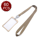 GOGO 60PCS Vertical Horizontal Sturdy Lightweight Metal Badge Holder with Neck Lanyard, 2 Side Clear