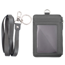GOGO Slim Badge Holder Wallet, PU Leather Vertical Name Card Holder with Key Ring and 18.8