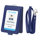 GOGO 2-Sided Folding ID Windows Badge Holder Card Case PU Leather Wallet with Lanyard and Secure Snap Cover