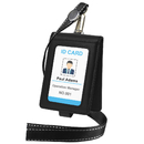 GOGO Badge Holder Wallet with Lanyard, Heavy Duty PU Leather Foldable Vertical Name Tags, 19
