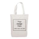 Custom Canvas Tote Bag, Organic Grocery Bag with Bottom 14-1/2 x 17 x 4 Inch, Customizable Text Logo Photo