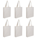 Muka 6 Pack Soft Tote Bag with Full Gusset 100% Cotton Canvas Bag 15 x 16 x 3 1/2 Inches