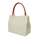 Muka Women Canvas Shoulder Shopping Tote Bag with PU Leather Handle, 12-3/16 x 10-5/8 x 6-1/2 Inch