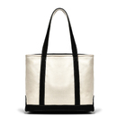 Muka Cotton Canvas Shoulder Boat Tote with Zipper Casual Natural Bag 14-3/16 x 10-5/8 x 5-1/2 Inch