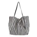 Muka Canvas Large Shoulder Boat Tote, Striped Hobo Shopping Beach Handbag, 15-3/8 x 13 x 8-1/4 Inch