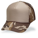 Cameo Sports Custom 5 Panel Tan Front/Brown Camo Poly Foam, Plastic Snap Back, Embroidery Imprint
