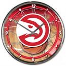 Atlanta Hawks Clock Round Wall Style Chrome - Special Order