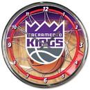 Sacramento Kings Clock Round Wall Style Chrome