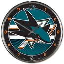 San Jose Sharks Round Chrome Wall Clock