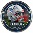 New England Patriots Round Chrome Wall Clock