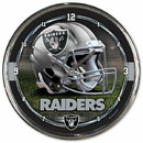Oakland Raiders Round Chrome Wall Clock